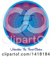 Clipart Of A Throat Vishuddha Chakra Symbol On A Blue And Purple Mandala Over Text Royalty Free Vector Illustration by Pams Clipart