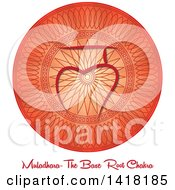 Clipart Of A Base Roote Muladhara Chakra Symbol On A Red Mandala Over Text Royalty Free Vector Illustration by Pams Clipart