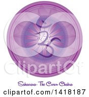 Clipart Of A Crown Chakra Sahasrara Symbol On A Violet Mandala Over Text Royalty Free Vector Illustration