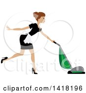 Brunette Female Maid With Her Hair In A Bun Vacuuming
