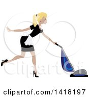 Blond Female Maid With Her Hair In A Pony Tail Vacuuming