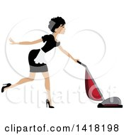 Clipart Of A Brunette Female Maid Vacuuming Royalty Free Vector Illustration