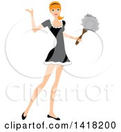 Red Haired Female Maid Presenting And Holding A Feather Duster
