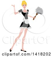 Clipart Of A Blond Female Maid Presenting And Holding A Feather Duster Royalty Free Vector Illustration