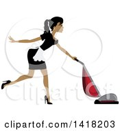 Clipart Of A Dark Skinned Female Maid Vacuuming Royalty Free Vector Illustration