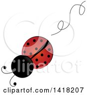 Clipart Of A View Above Of A Ladybug And A Swirl Trail Royalty Free Vector Illustration by Pams Clipart