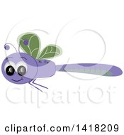 Clipart of a Happy Purple and Green Dragonfly - Royalty Free Vector Illustration by Pams Clipart #COLLC1418209-0007