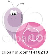 Clipart of a Purple and Pink Snail - Royalty Free Vector Illustration by Pams Clipart #COLLC1418213-0007