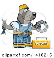 Cartoon Clipart Of A Wolf Construction Worker With Tools Royalty Free Vector Illustration by Cory Thoman