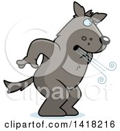 Cartoon Clipart Of A Big Bad Wolf Huffing And Puffing Royalty Free Vector Illustration