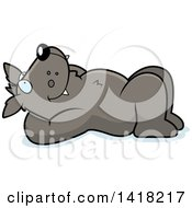 Cartoon Clipart Of A Relaxed Wolf Resting On His Back And Stargazing Royalty Free Vector Illustration