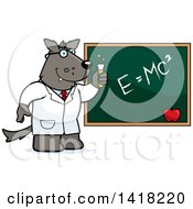 Cartoon Clipart Of A Professor Or Scientist Wolf By A Chalkboard Royalty Free Vector Illustration by Cory Thoman