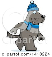 Cartoon Clipart Of A Wolf Walking Upright In Winter Accessories Royalty Free Vector Illustration by Cory Thoman