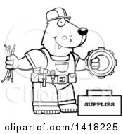 Cartoon Clipart Of A Black And White Lineart Wolf Construction Worker With Tools Royalty Free Vector Illustration