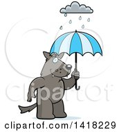 Cartoon Clipart Of A Wolf Holding An Umbrella In The Rain Royalty Free Vector Illustration