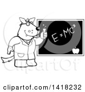 Black And White Lineart Professor Or Scientist Wolf By A Chalkboard