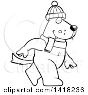Cartoon Clipart Of A Black And White Lineart Wolf Walking Upright In Winter Accessories Royalty Free Vector Illustration