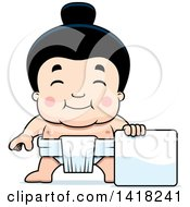 Cartoon Clipart Of A Little Sumo Wrestler Standing With A Blank Sign Royalty Free Vector Illustration