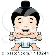Cartoon Clipart Of A Little Sumo Wrestler Giving Two Thumbs Up Royalty Free Vector Illustration by Cory Thoman