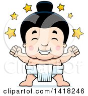 Cartoon Clipart Of A Little Sumo Wrestler Winner With Stars Royalty Free Vector Illustration