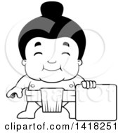 Cartoon Clipart Of A Black And White Lineart Little Sumo Wrestler Standing With A Blank Sign Royalty Free Vector Illustration