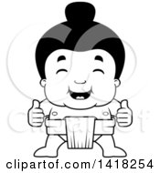 Cartoon Clipart Of A Black And White Lineart Little Sumo Wrestler Giving Two Thumbs Up Royalty Free Vector Illustration by Cory Thoman