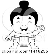 Cartoon Clipart Of A Black And White Lineart Little Sumo Wrestler Waving Royalty Free Vector Illustration