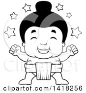 Cartoon Clipart Of A Black And White Lineart Little Sumo Wrestler Winner With Stars Royalty Free Vector Illustration by Cory Thoman