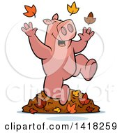 Cartoon Clipart Of A Happy Pig Playing In Autumn Leaves Royalty Free Vector Illustration