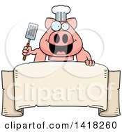 Cartoon Clipart Of A Chef Pig Holding A Spatula Over A Banner Royalty Free Vector Illustration
