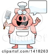 Cartoon Clipart Of A Chef Pig Talking And Holding A Spatula Royalty Free Vector Illustration