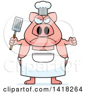 Cartoon Clipart Of A Mad Chef Pig Holding A Spatula Royalty Free Vector Illustration