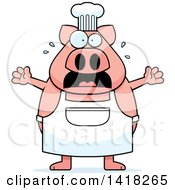 Cartoon Clipart Of A Scared Chef Pig Screaming Royalty Free Vector Illustration