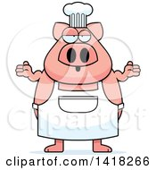 Cartoon Clipart Of A Careless Chef Pig Shrugging Royalty Free Vector Illustration