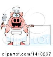 Cartoon Clipart Of A Chef Pig Holding A Spatula By A Blank Sign Royalty Free Vector Illustration