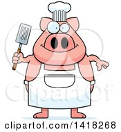 Cartoon Clipart Of A Chef Pig Holding A Spatula Royalty Free Vector Illustration by Cory Thoman