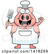 Cartoon Clipart Of A Chef Pig Waving And Holding A Spatula Royalty Free Vector Illustration