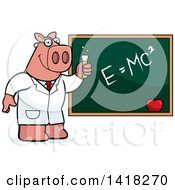 Cartoon Clipart Of A Professor Or Scientist Pig By A Chalkboard Royalty Free Vector Illustration by Cory Thoman