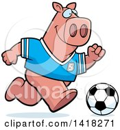 Cartoon Clipart Of A Sporty Pig Playing Soccer Royalty Free Vector Illustration