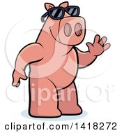 Cartoon Clipart Of A Friendly Pig Wearing Sunglasses And Waving Royalty Free Vector Illustration