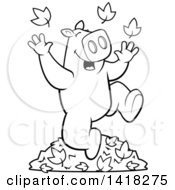 Black And White Lineart Happy Pig Playing In Autumn Leaves