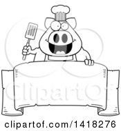 Cartoon Clipart Of A Black And White Lineart Chef Pig Holding A Spatula Over A Banner Royalty Free Vector Illustration