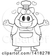 Cartoon Clipart Of A Black And White Lineart Chef Pig Wanting A Hug Royalty Free Vector Illustration