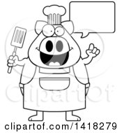 Cartoon Clipart Of A Black And White Lineart Chef Pig Talking And Holding A Spatula Royalty Free Vector Illustration