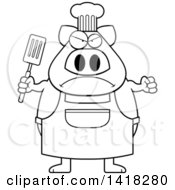 Black And White Lineart Mad Chef Pig Holding A Spatula