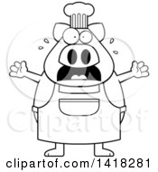 Black And White Lineart Scared Chef Pig Screaming