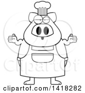 Cartoon Clipart Of A Black And White Lineart Careless Chef Pig Shrugging Royalty Free Vector Illustration
