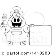 Cartoon Clipart Of A Black And White Lineart Chef Pig Holding A Spatula By A Blank Sign Royalty Free Vector Illustration by Cory Thoman