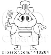 Cartoon Clipart Of A Black And White Lineart Chef Pig Holding A Spatula Royalty Free Vector Illustration by Cory Thoman