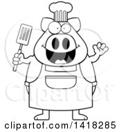 Black And White Lineart Chef Pig Waving And Holding A Spatula
